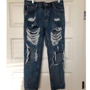 Signature 8 Boyfriend Distressed Ripped Jeans